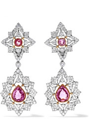 18-karat white and yellow gold, sapphire and diamond earrings