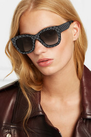 Square-frame studded acetate sunglasses