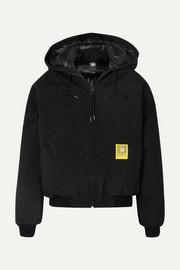 Hooded shell down bomber jacket