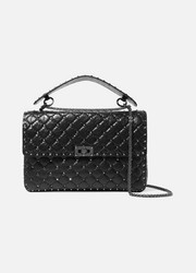 Valentino Garavani The Rockstud Spike medium quilted cracked-leather shoulder bag