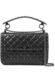 Valentino Garavani Rockstud Spike quilted cracked-leather shoulder bag