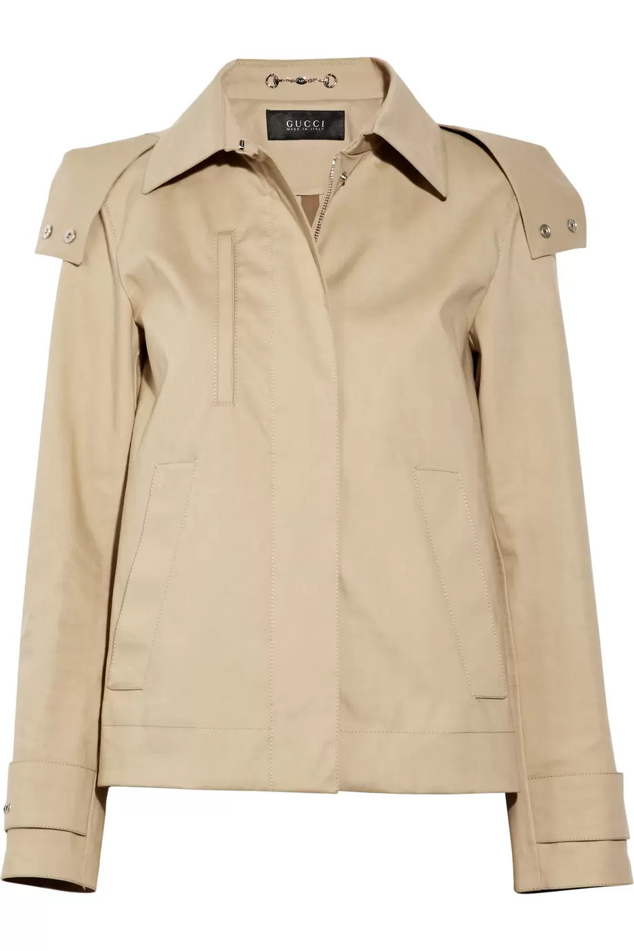 Gucci Short Cotton-Canvas Hooded Raincoat, Size: 44