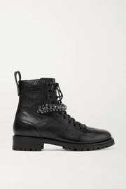 Cruz crystal-embellished textured-leather ankle boots