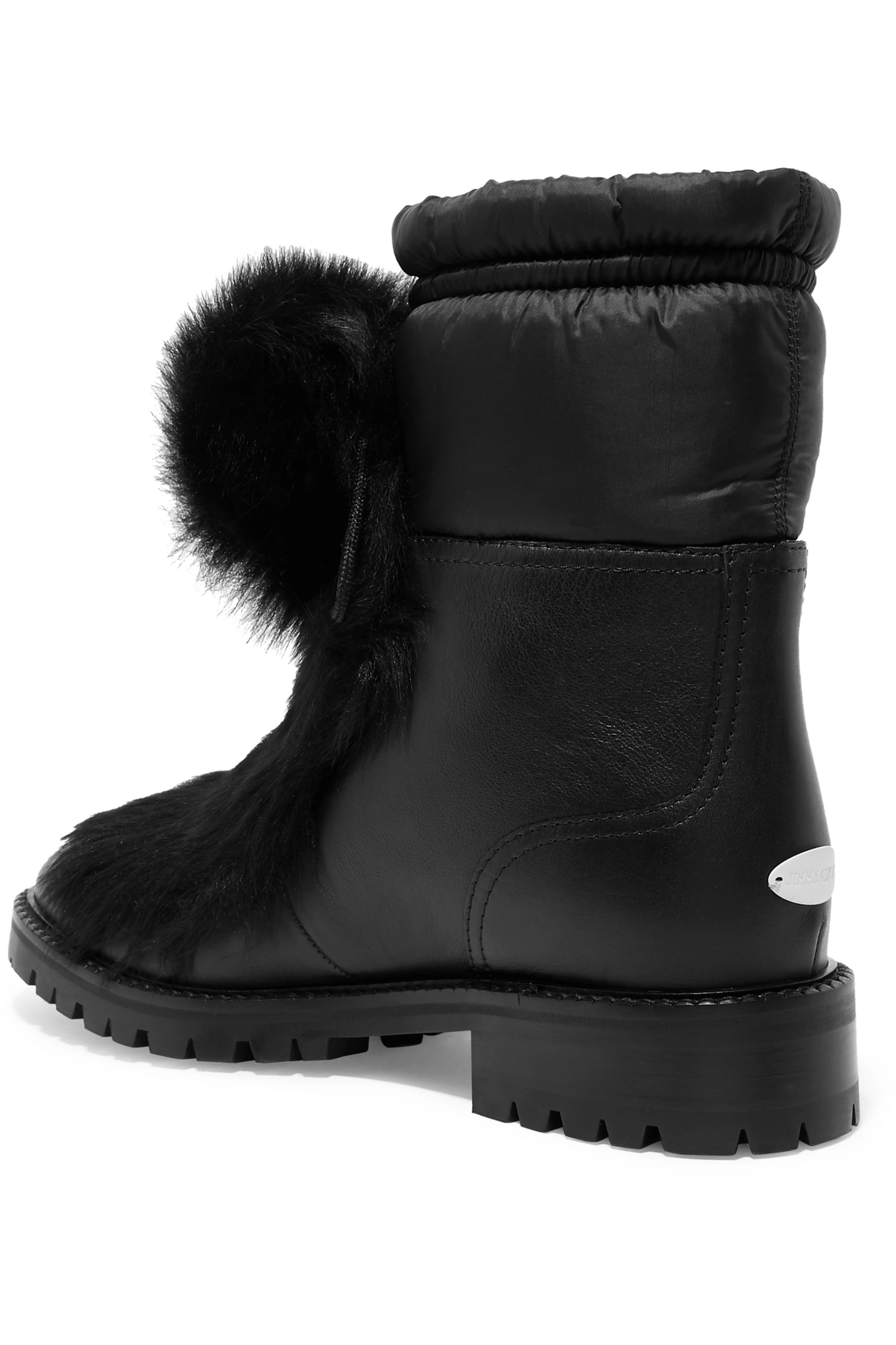Jimmy Choo Glacie pompom-embellished shearling and shell-trimmed leather ankle boots