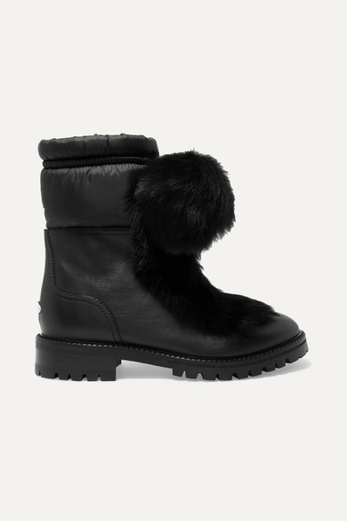Glacie Pompom-Embellished Shearling And Shell-Trimmed Leather Ankle Boots in Black
