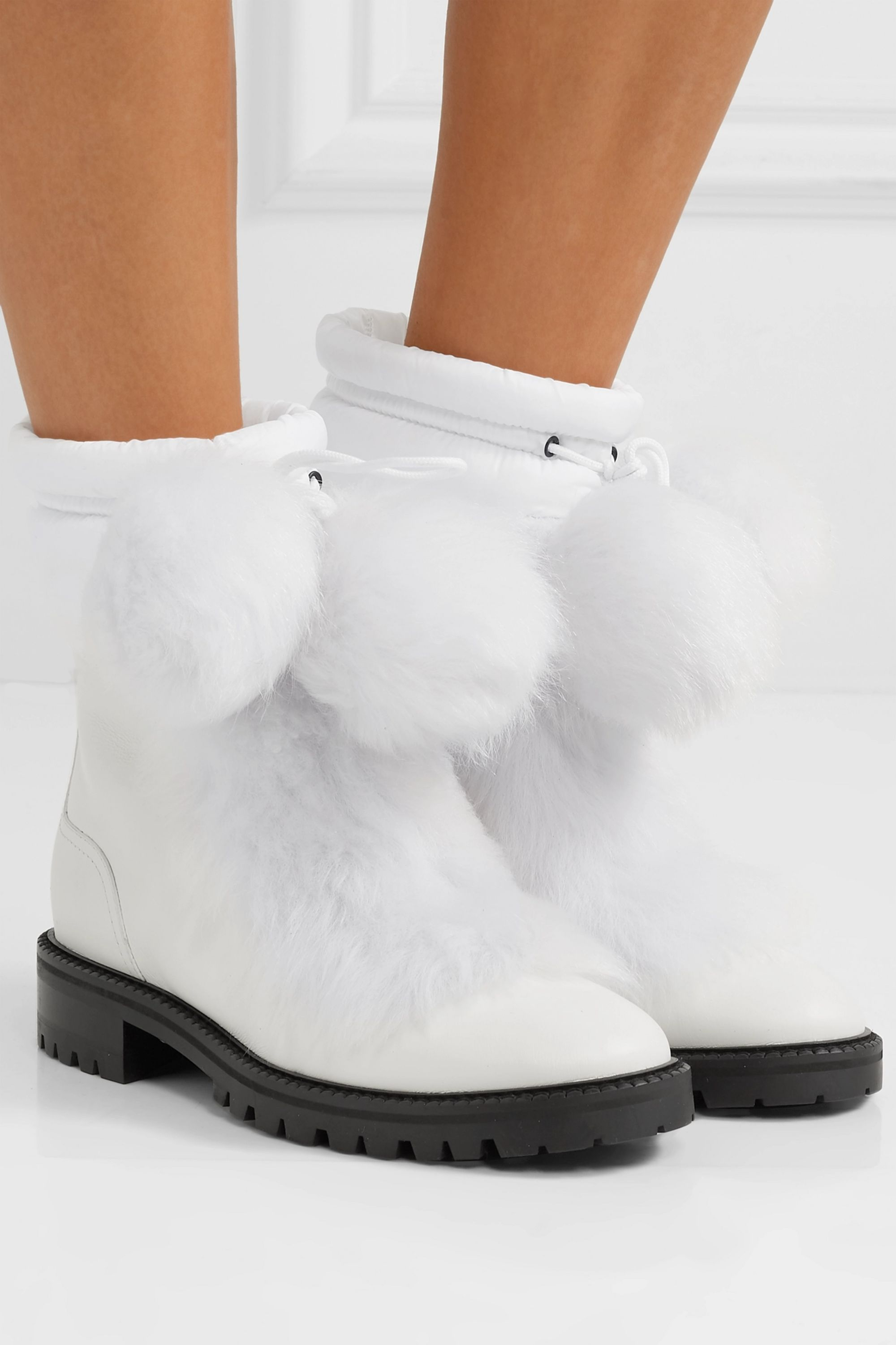 Jimmy Choo Glacie shearling pompom-embellished leather ankle boots