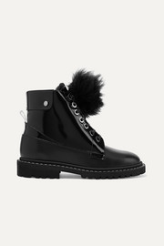 The Voyager Snow heated shearling-trimmed glossed-leather ankle boots