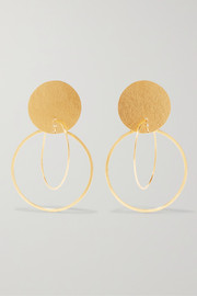 Annie Costello Brown Halo gold-tone earrings