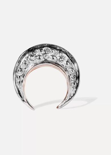75c7021a2 I+I   Crescent Moon 14-karat rose gold diamond earring   NET-A-PORTER.COM