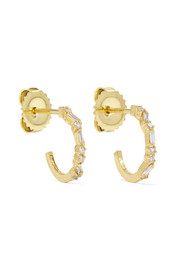 18-karat gold diamond hoops earrings