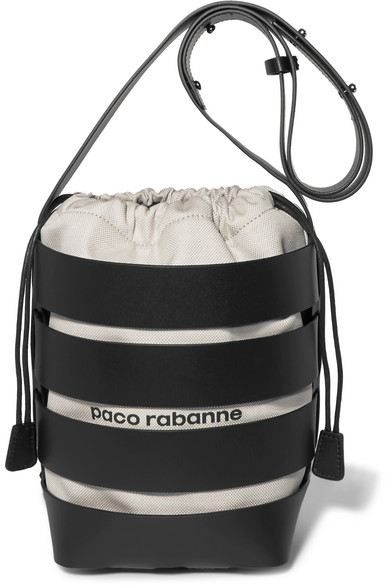 Paco Rabanne - Cage Hobo Medium Leather And Canvas Bucket Bag - Black