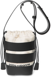 Cage Hobo mini leather and canvas shoulder bag