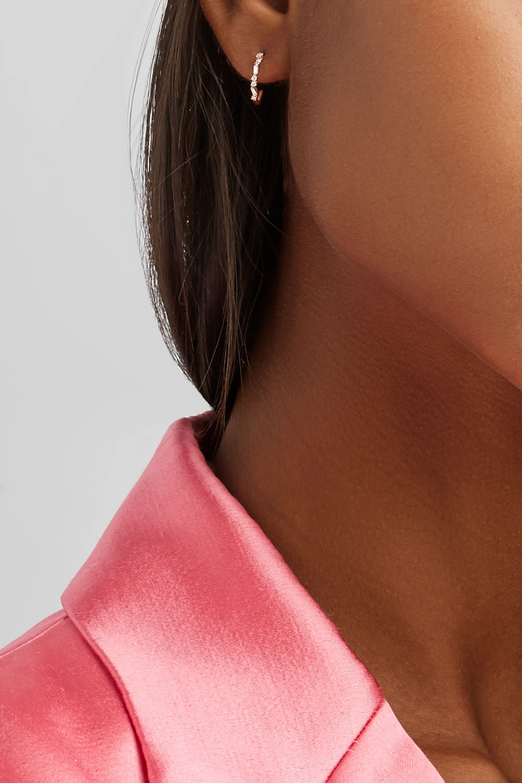 Suzanne Kalan 18-karat rose gold diamond hoop earrings