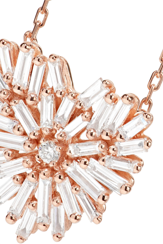 Suzanne Kalan Angel 18-karat rose gold diamond necklace