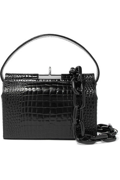 Milky Mini Croc-Effect Leather Shoulder Bag, Black