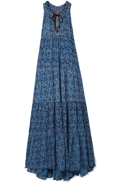 YVONNE S Tiered Floral-Print Georgette Maxi Dress in Blue
