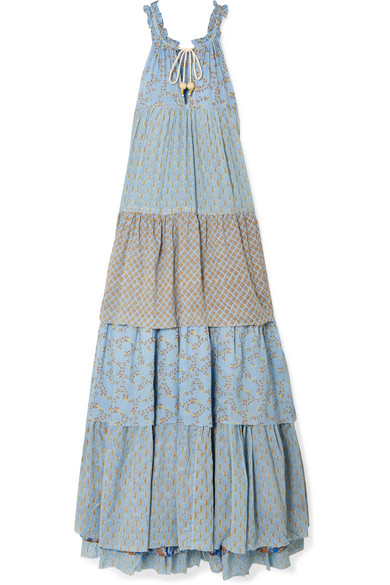 YVONNE S Tiered Printed Cotton-Voile Maxi Dress in Light Blue