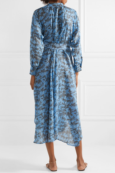 Cheap Amazing Price Wholesale Price Cheap Online Ruffled Printed Linen Midi Dress - Light blue Yvonne Sporre Marketable Sale Online Best Authentic Cheap Sale Extremely Yo88X