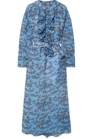YVONNE S Ruffled Printed Linen Midi Dress in Light Blue