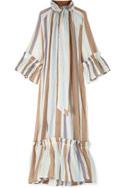 Yvonne S Angelica tiered striped linen maxi dress