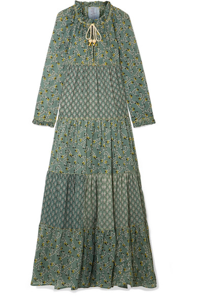 YVONNE S Tiered Printed Cotton-Voile Maxi Dress in Green