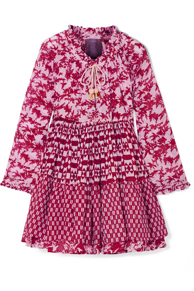 YVONNE S Tiered Printed Cotton-Voile Mini Dress in Pink