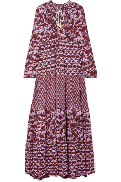 Tiered Printed Georgette Maxi Dress by Yvonne S