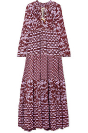Yvonne S Tiered printed georgette maxi dress