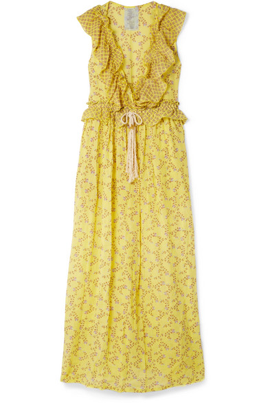 YVONNE S Marie-Antoinette Ruffled Floral-Print Linen Maxi Dress in Yellow