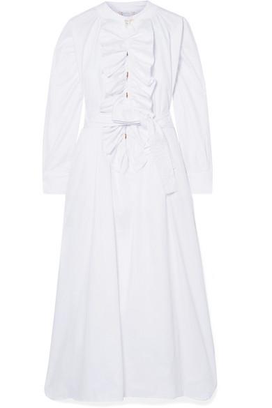 YVONNE S Ruffled Cotton-Poplin Midi Dress in White