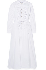 Yvonne S Ruffled cotton-poplin midi dress
