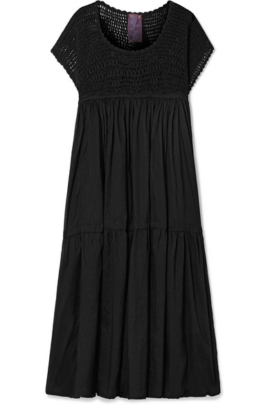 Wind crochet-knit and cotton-voile midi dress