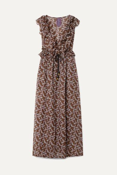 YVONNE S Marie-Antoinette Ruffled Floral-Print Linen Maxi Dress in Brown