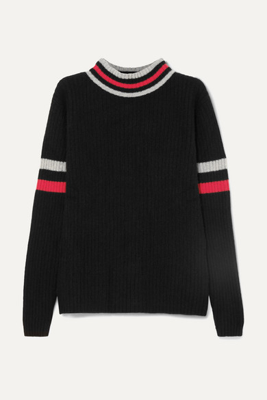 The Elder Statesman - Odyssey Striped Ribbed Cashmere Turtleneck Sweater - Black