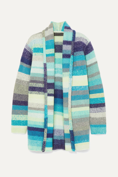 The Elder Statesman - Italy Smoking Striped Cashmere Cardigan - Blue
