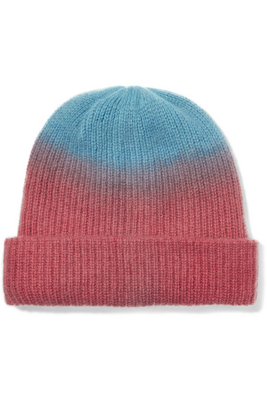 The Elder Statesman - Watchman Tie-dyed Ribbed Cashmere Beanie - Red