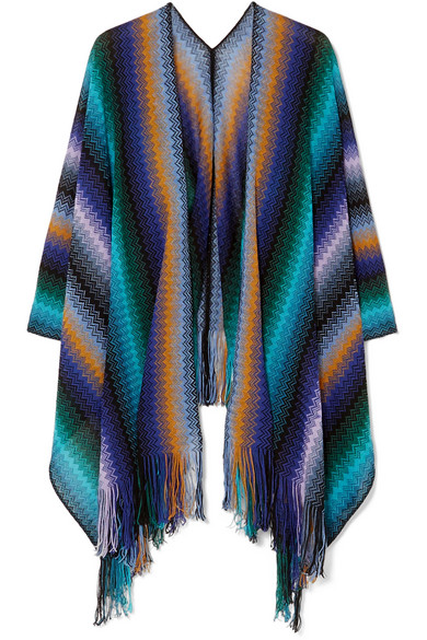 Missoni - Fringed Crocheted Wool Wrap - Blue