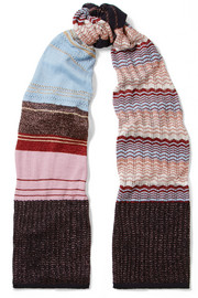 Striped metallic crochet-knit scarf