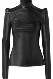 Pushbutton Faux leather turtleneck top