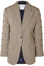 Convertible button-embellished checked wool-blend blazer
