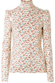 Sequined floral-print voile blouse