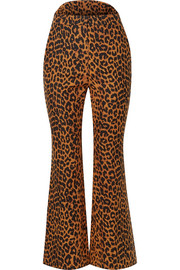 Leopard-print cotton flared pants