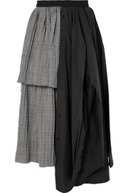 Layered asymmetric wool and cotton-blend skirt
