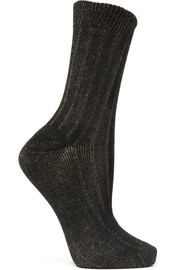 Ribbed metallic cotton-blend socks