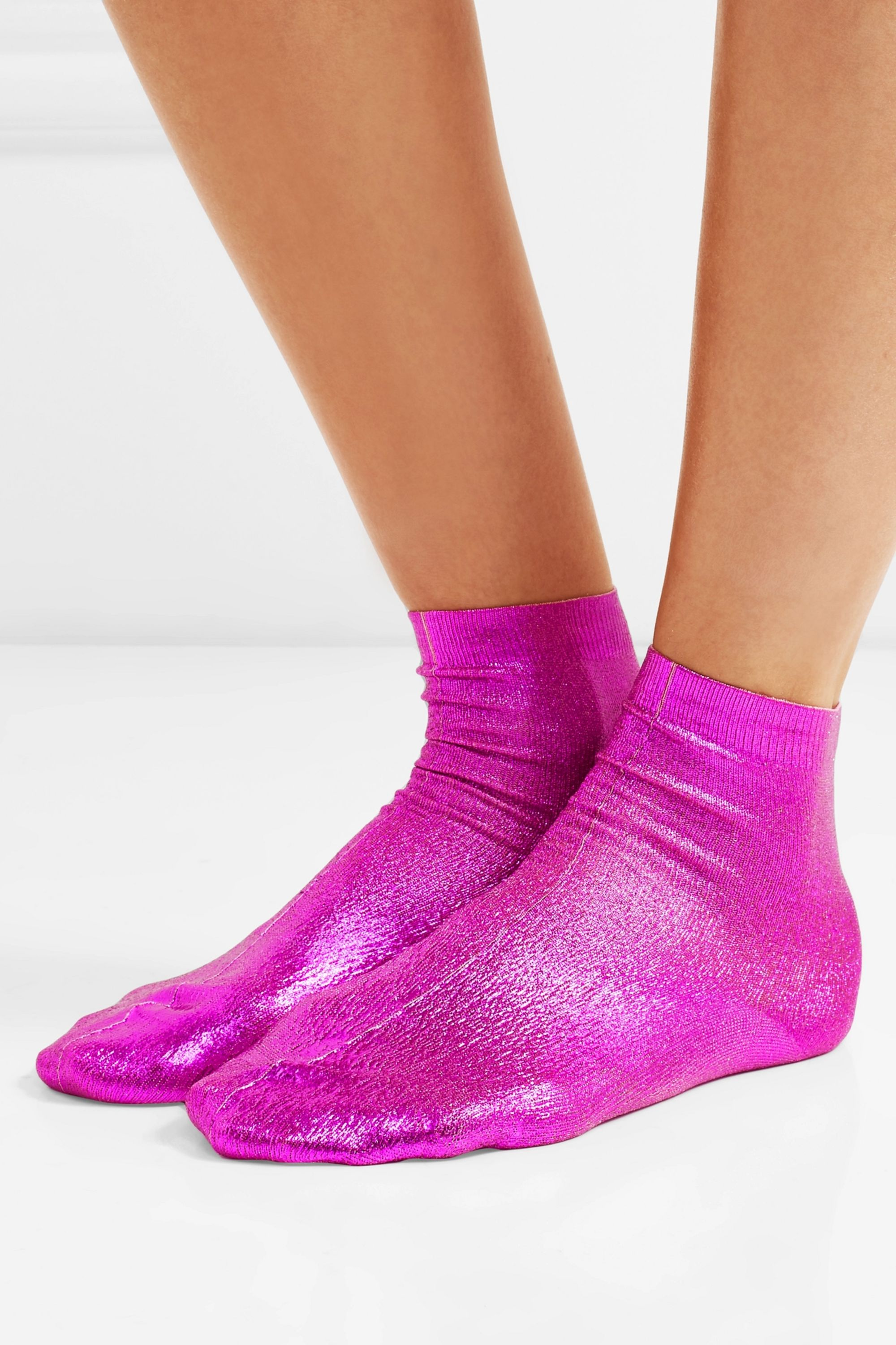 Maria La Rosa Metallic coated silk-blend socks