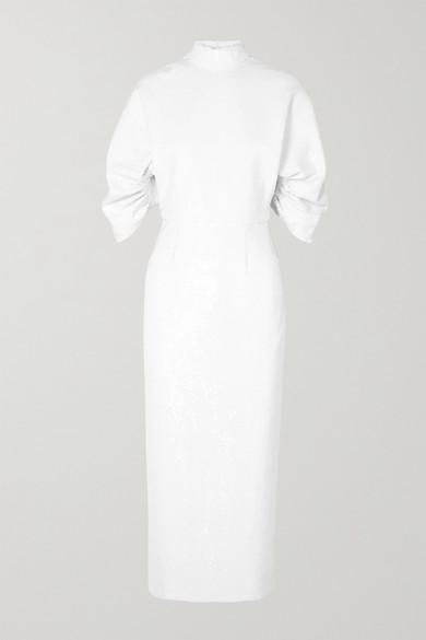 EMILIA WICKSTEAD Shari Open-Back Sequined Chiffon Midi Dress in White