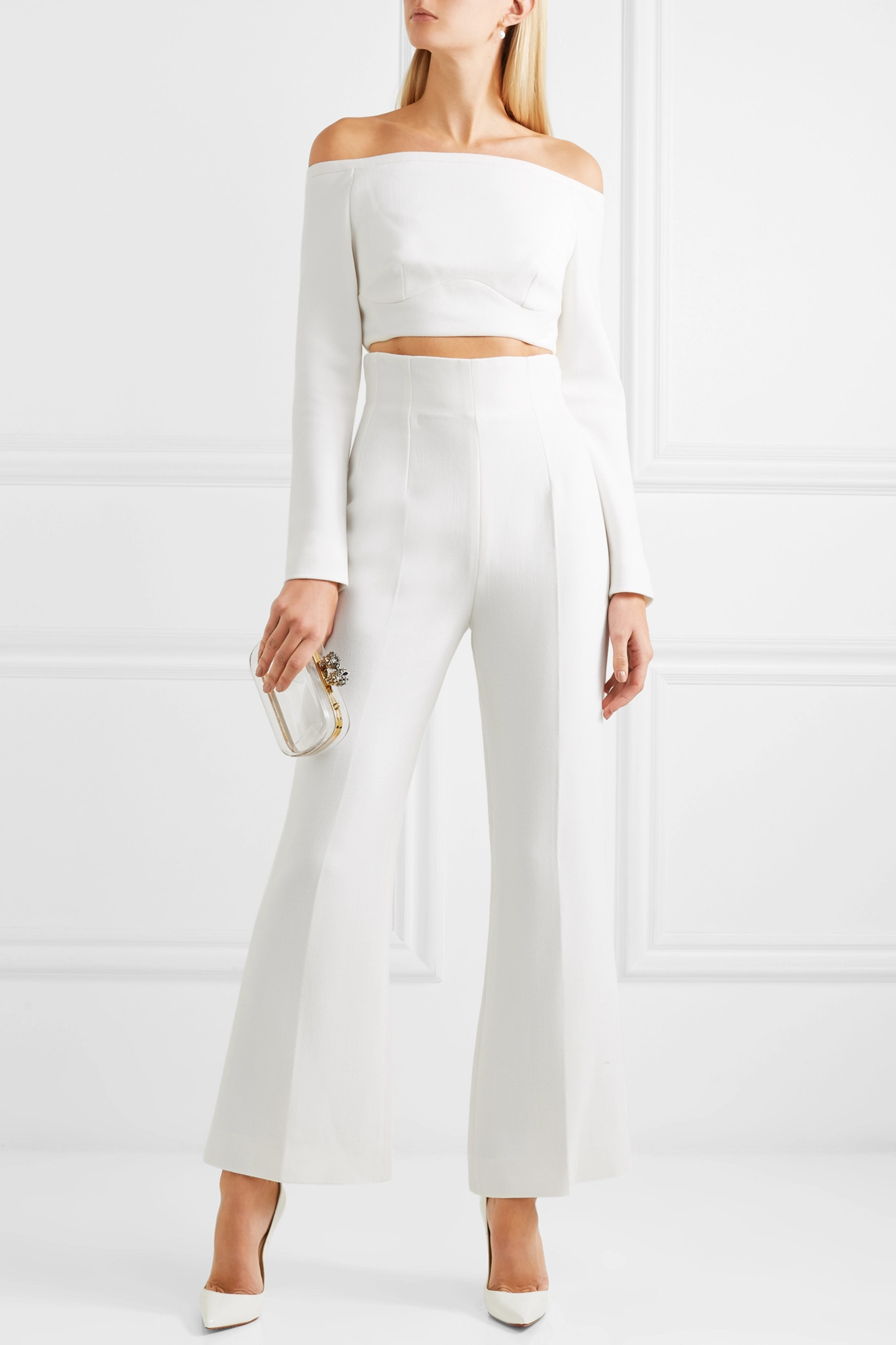 Emilia Wickstead Sammy cropped wool-crepe flared pants
