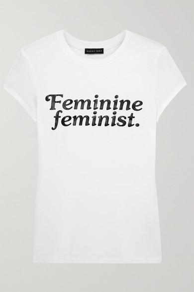 Feminine Feminist Printed Stretch Jersey T Shirt by Marika Vera