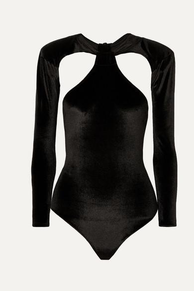 MARIKA VERA Sarah Cutout Stretch-Velvet Thong Bodysuit in Black