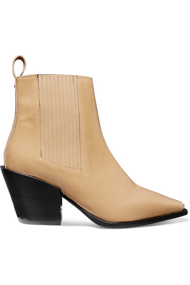 AEYDE Kate Patent-Leather Ankle Boots in Beige